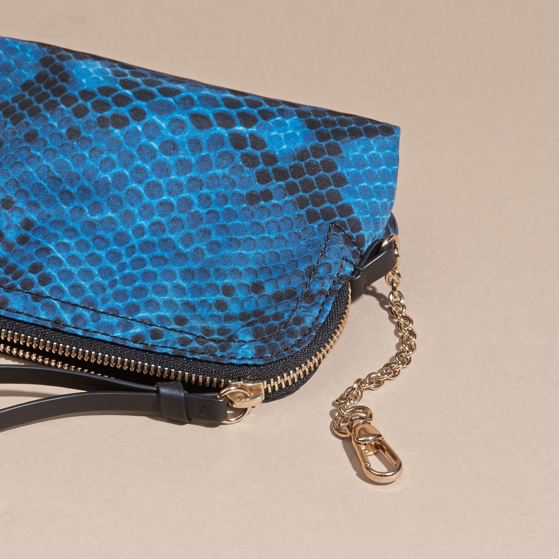 Mineral blue Small Zip-top Python-print Technical Nylon Pouch Mineral Blue - gallery image 4