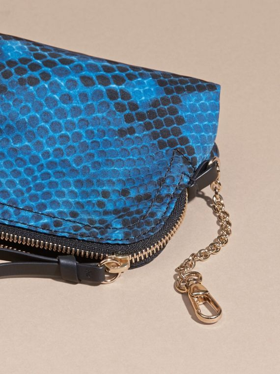 Mineral blue Zip-top Python-print Technical Nylon Pouch Mineral Blue - cell image 3