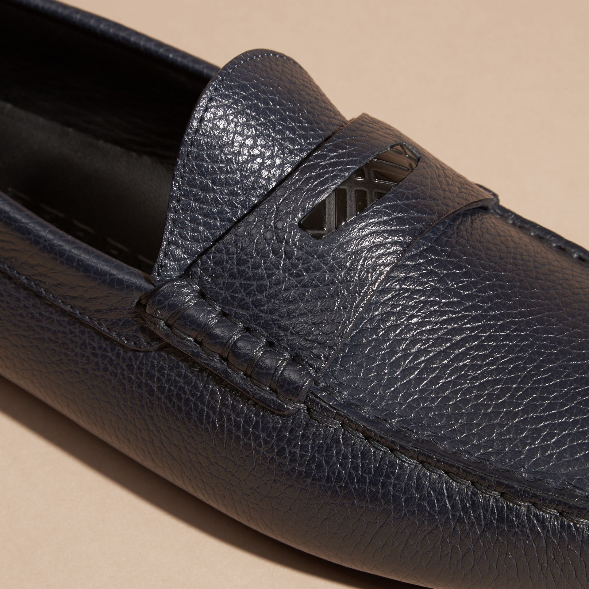 Grainy Leather Loafers with Engraved Check Detail Navy - gallery image 2
