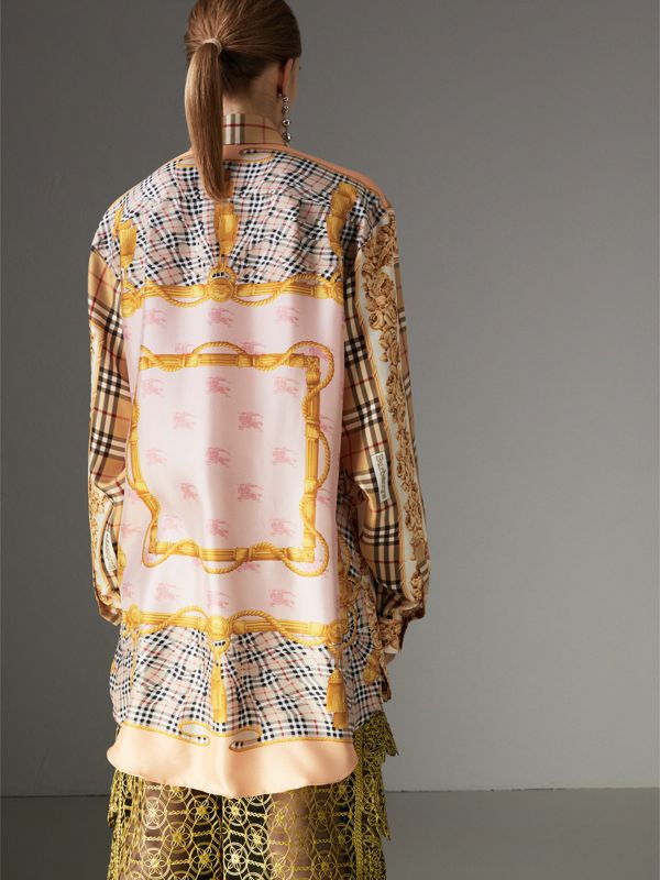 Archive Scarf Print Silk Shirt in Antique Yellow - Women | Burberry United Kingdom - cell image 2
