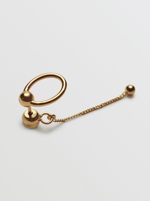 Oval and Charm Gold-plated Drop Earrings in Light - Women | Burberry Australia - cell image 3