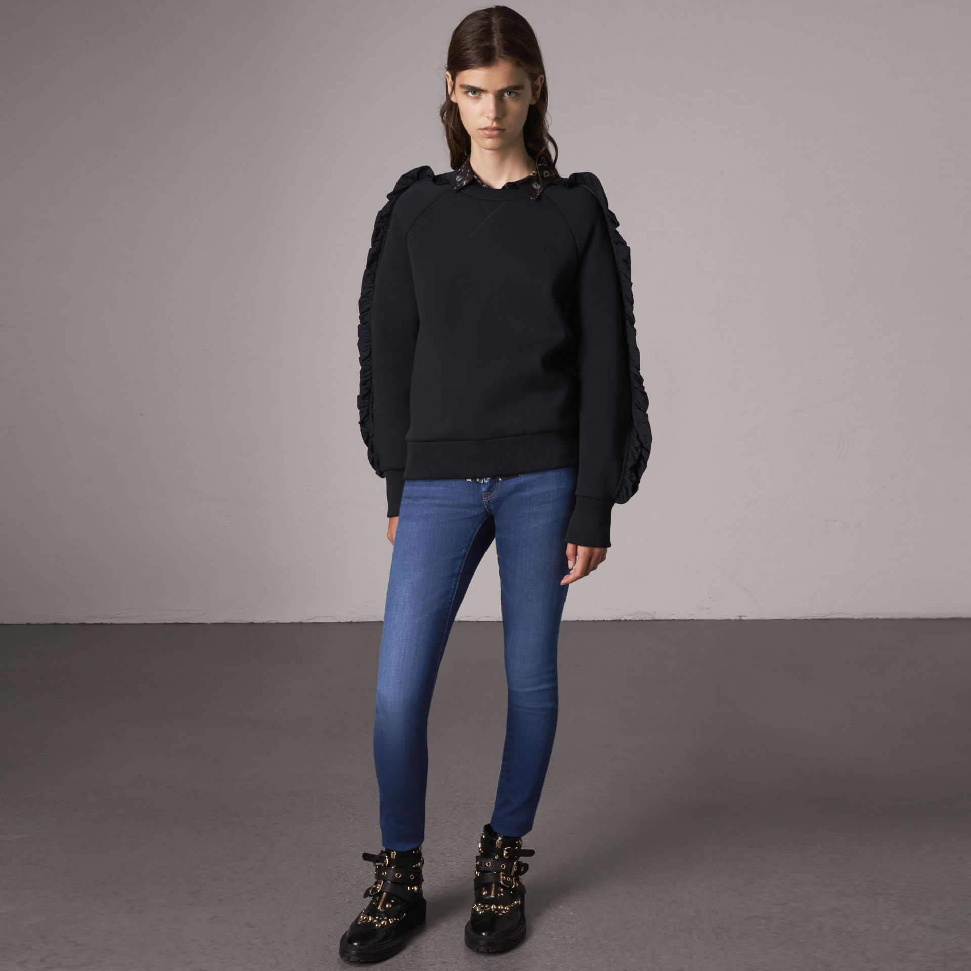 Skinny Fit Low-rise Power-stretch Jeans in Mid Indigo - Women | Burberry United States - gallery image 0