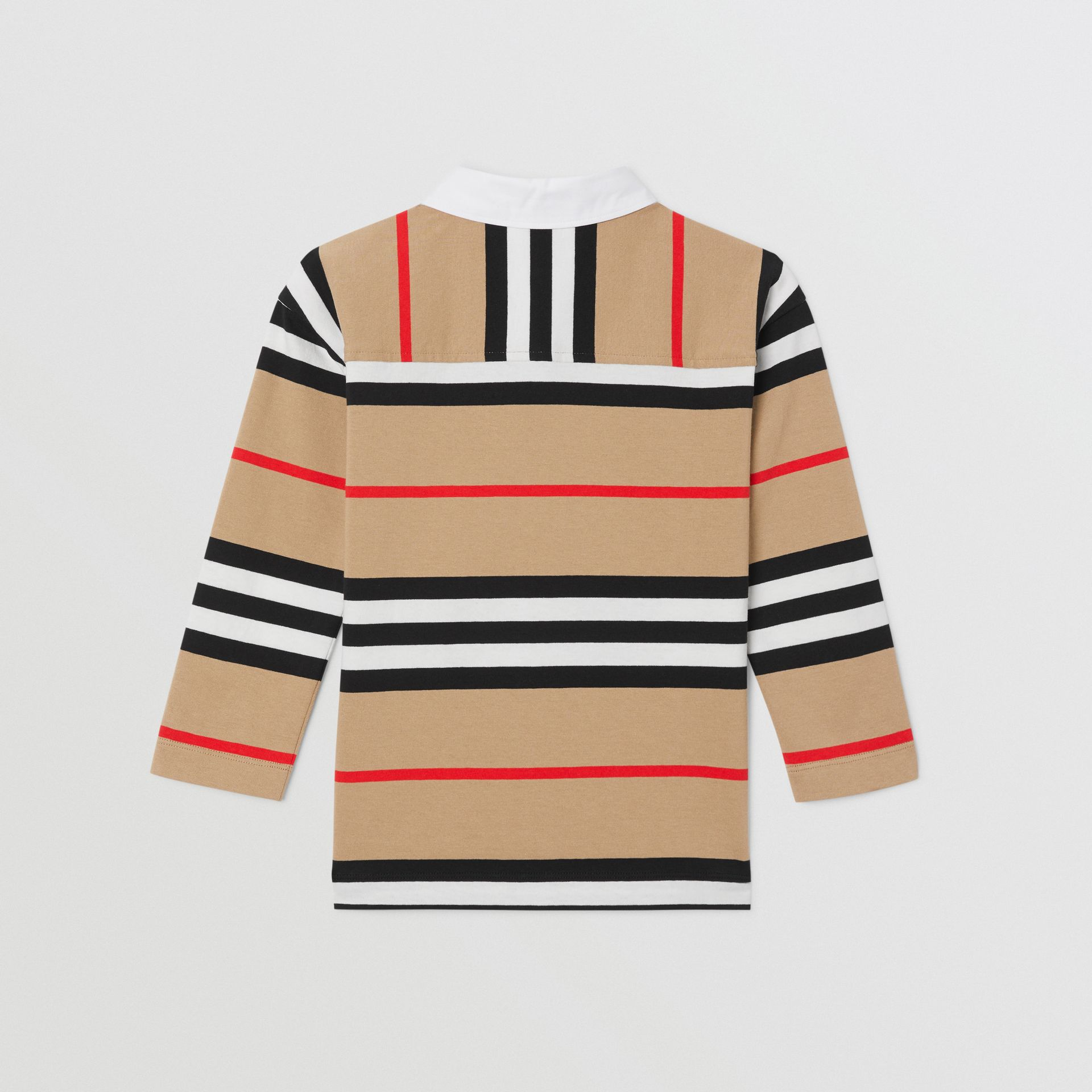 Long-sleeve Icon Stripe Cotton Top in Archive Beige | Burberry United Kingdom - gallery image 3