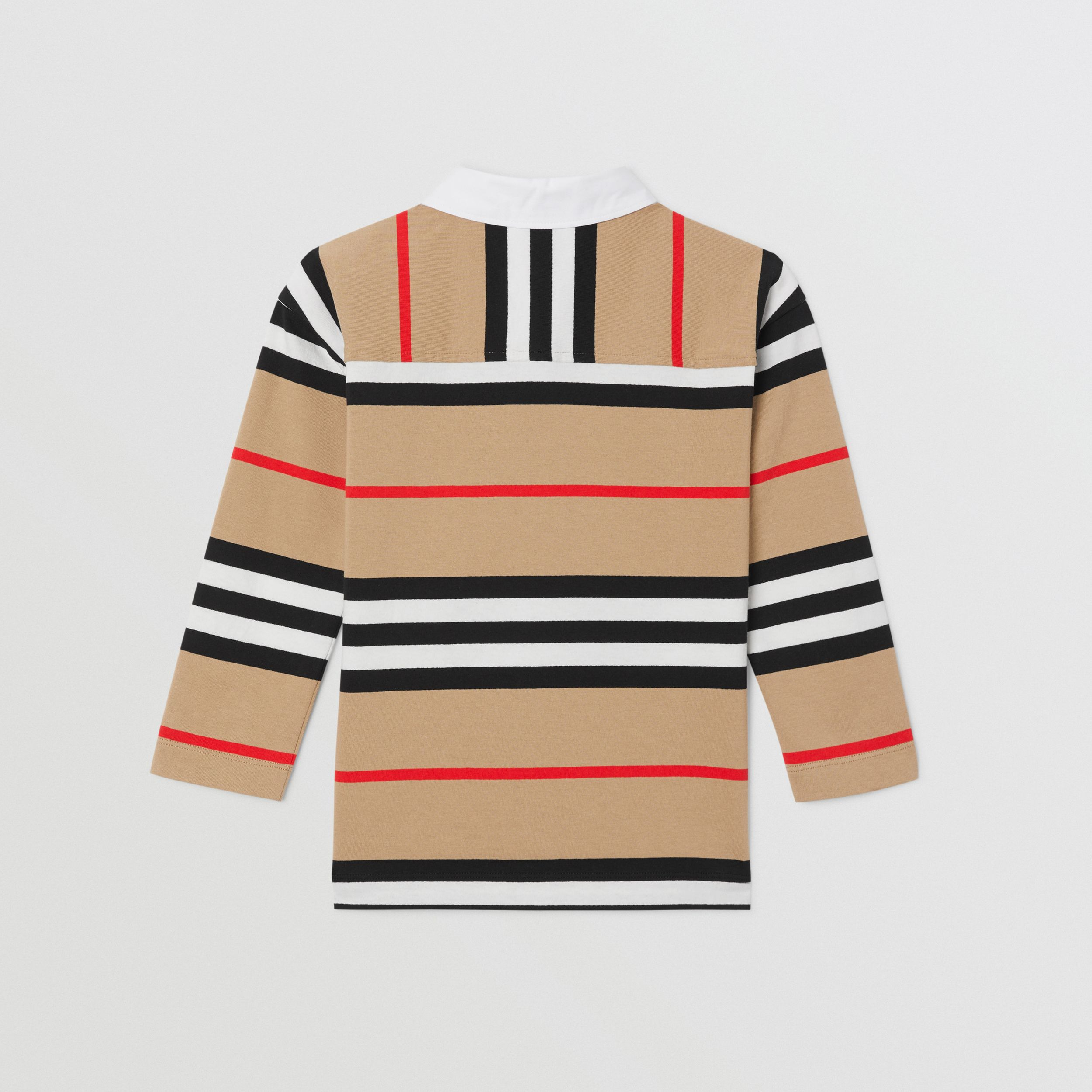 Long-sleeve Icon Stripe Cotton Top in Archive Beige | Burberry - 4
