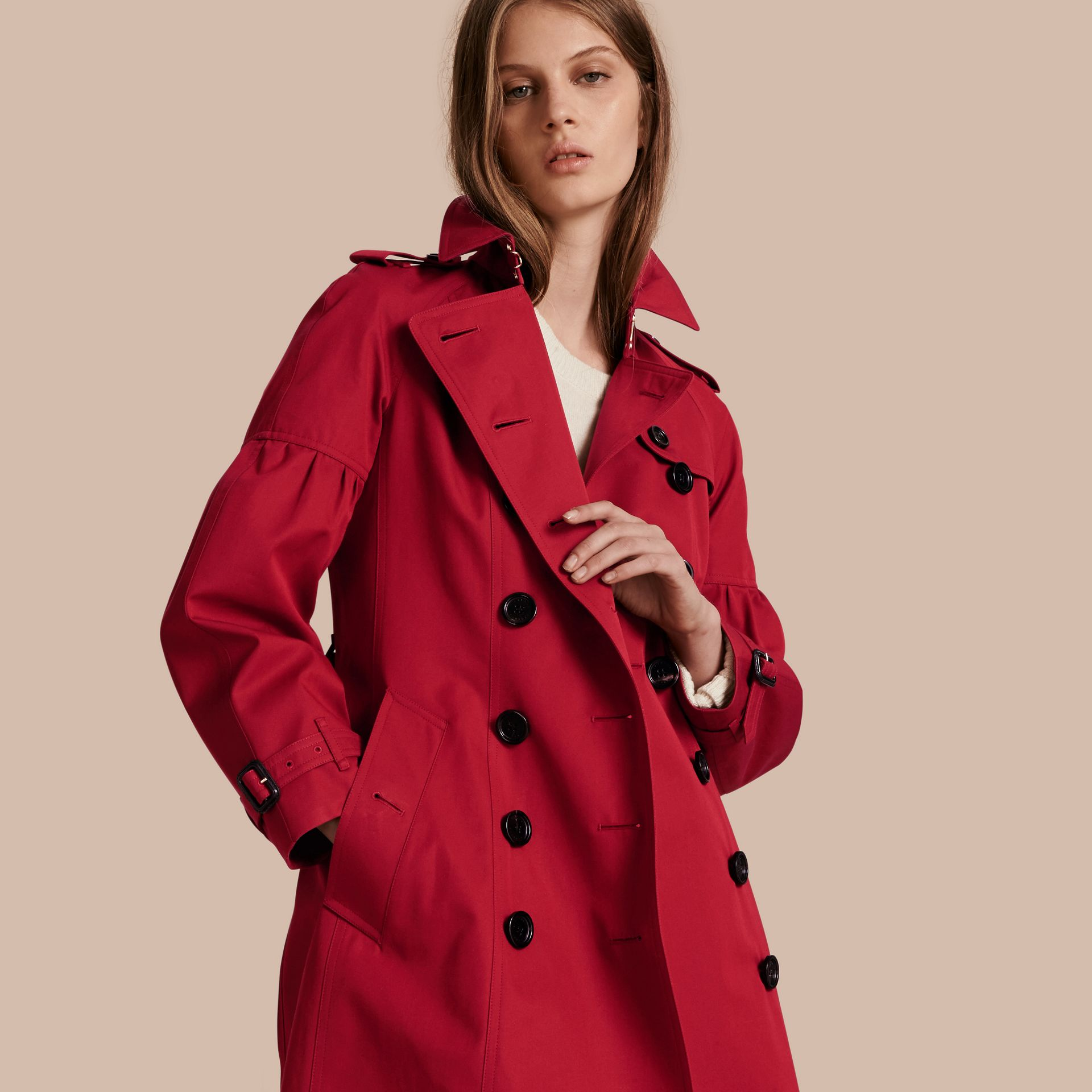 Parade red Cotton Gabardine Trench Coat with Puff Sleeves Parade Red - gallery image 1