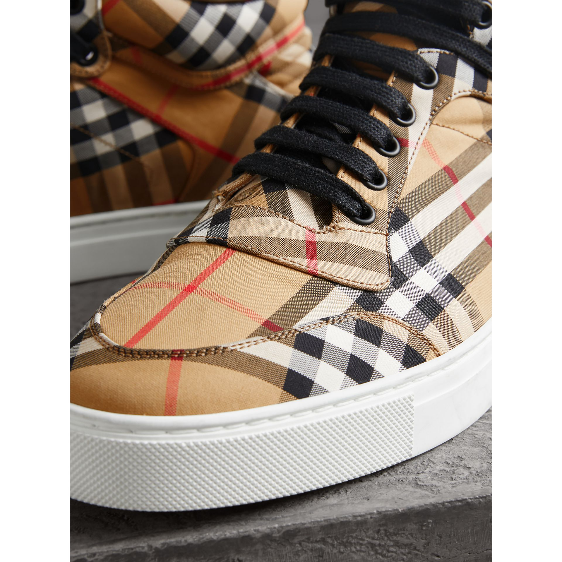 Vintage Check Cotton High-top Sneakers in Antique Yellow - Men | Burberry - gallery image 1