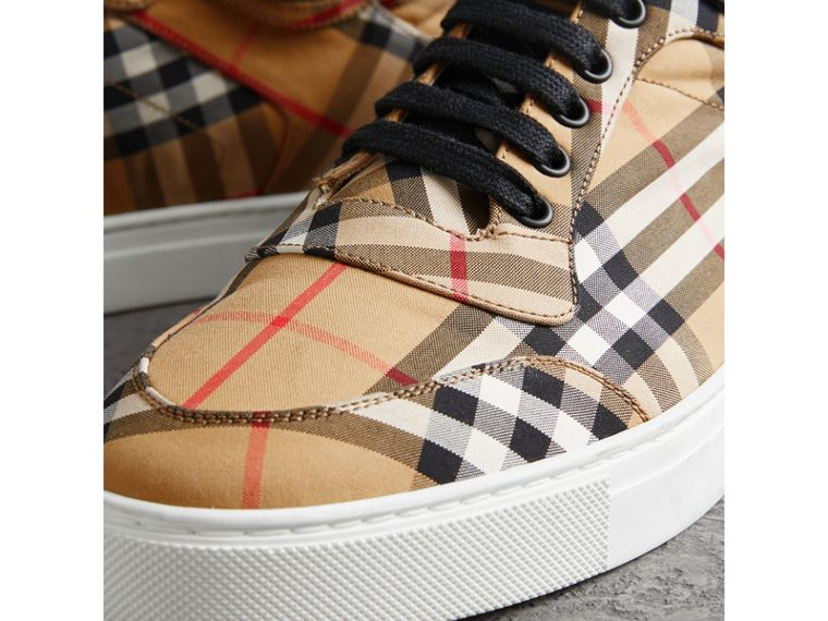 Vintage Check Cotton High-top Sneakers in Antique Yellow - Men | Burberry - cell image 1