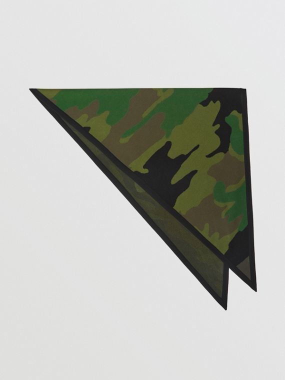 The Burberry Bandana in Camouflage Wool Blend in Khaki