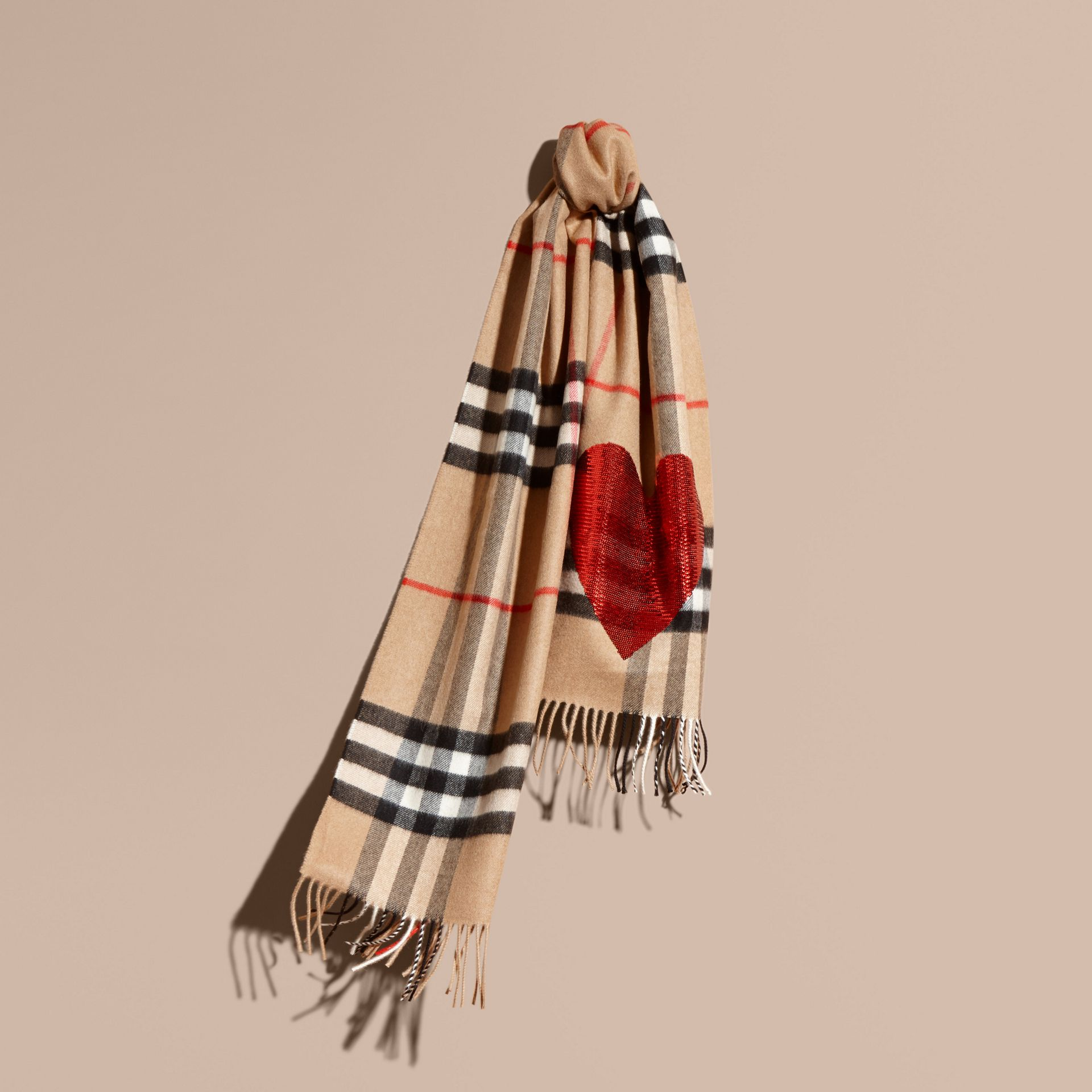 Camel/red The Classic Cashmere Scarf in Check with Sequined Heart Camel/red - gallery image 6