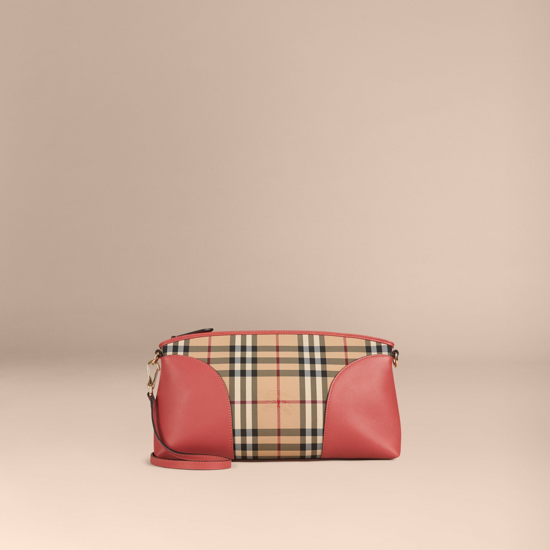 Horseferry Check and Leather Clutch Bag in Honey/antique Rose - gallery image 8