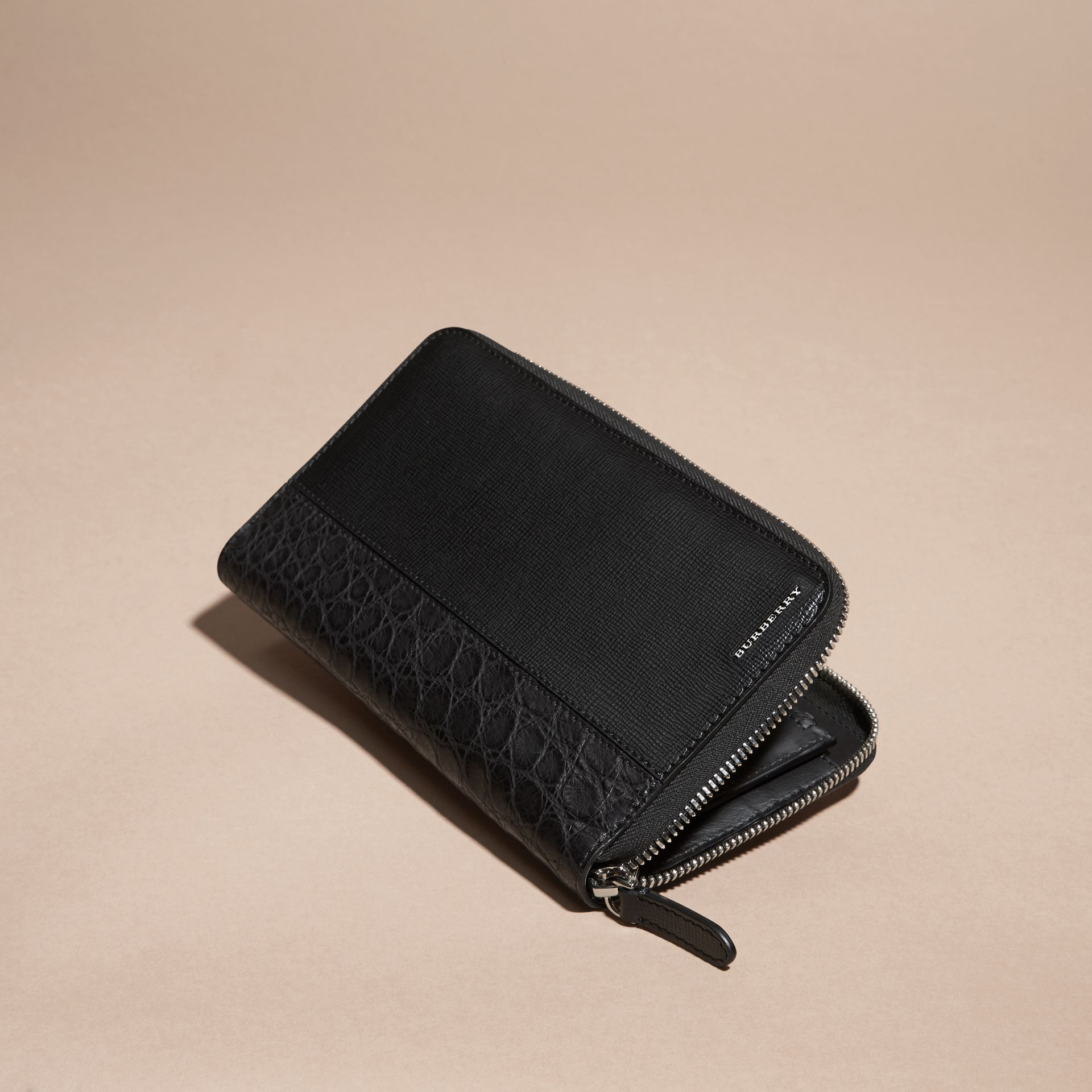 London Leather and Alligator Ziparound Wallet in Black - gallery image 3