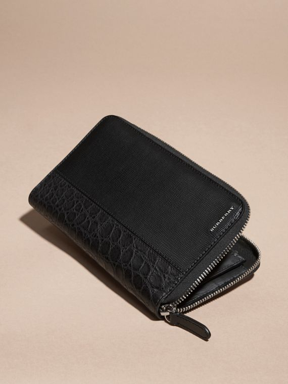 London Leather and Alligator Ziparound Wallet in Black - cell image 2