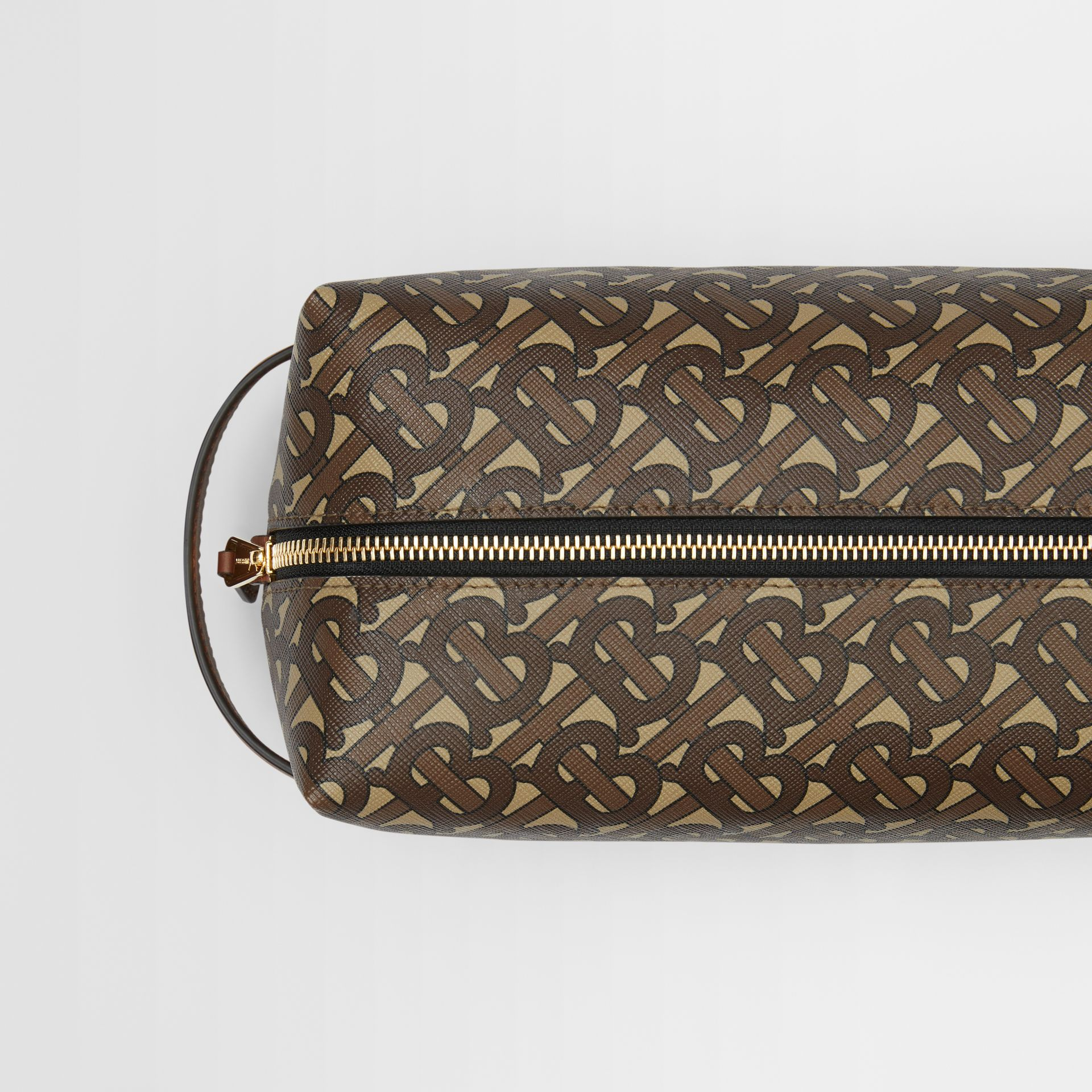 Monogram Print E-canvas Travel Pouch in Bridle Brown - Men | Burberry - gallery image 1