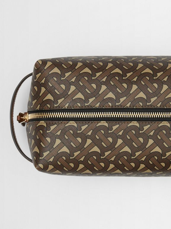 Monogram Print E-canvas Travel Pouch in Bridle Brown - Men | Burberry - cell image 1