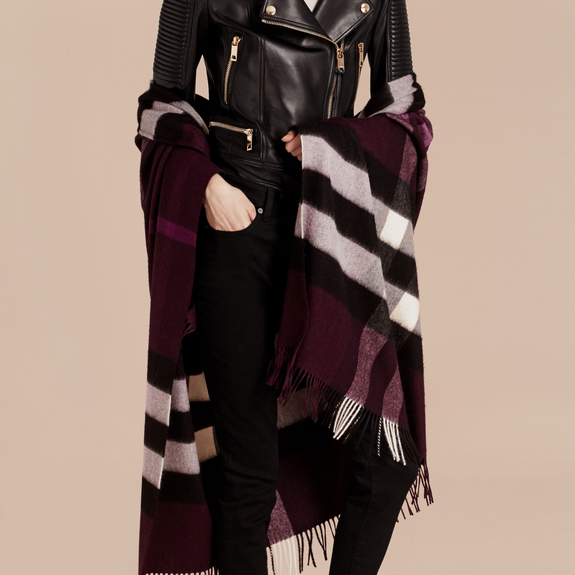 Check Cashmere and Wool Poncho Aubergine - gallery image 7