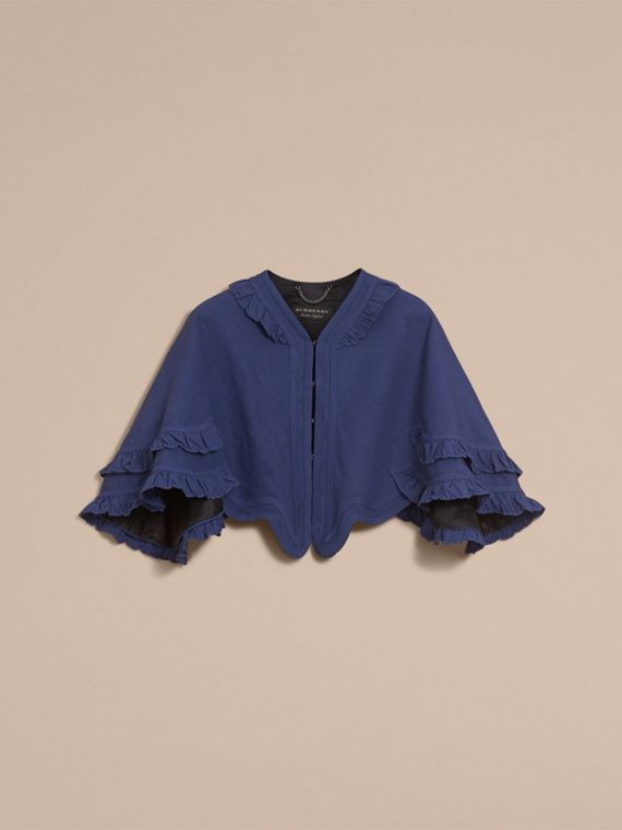 Ruffle Detail Ramie Cotton Capelet in Indigo - Women | Burberry - cell image 3