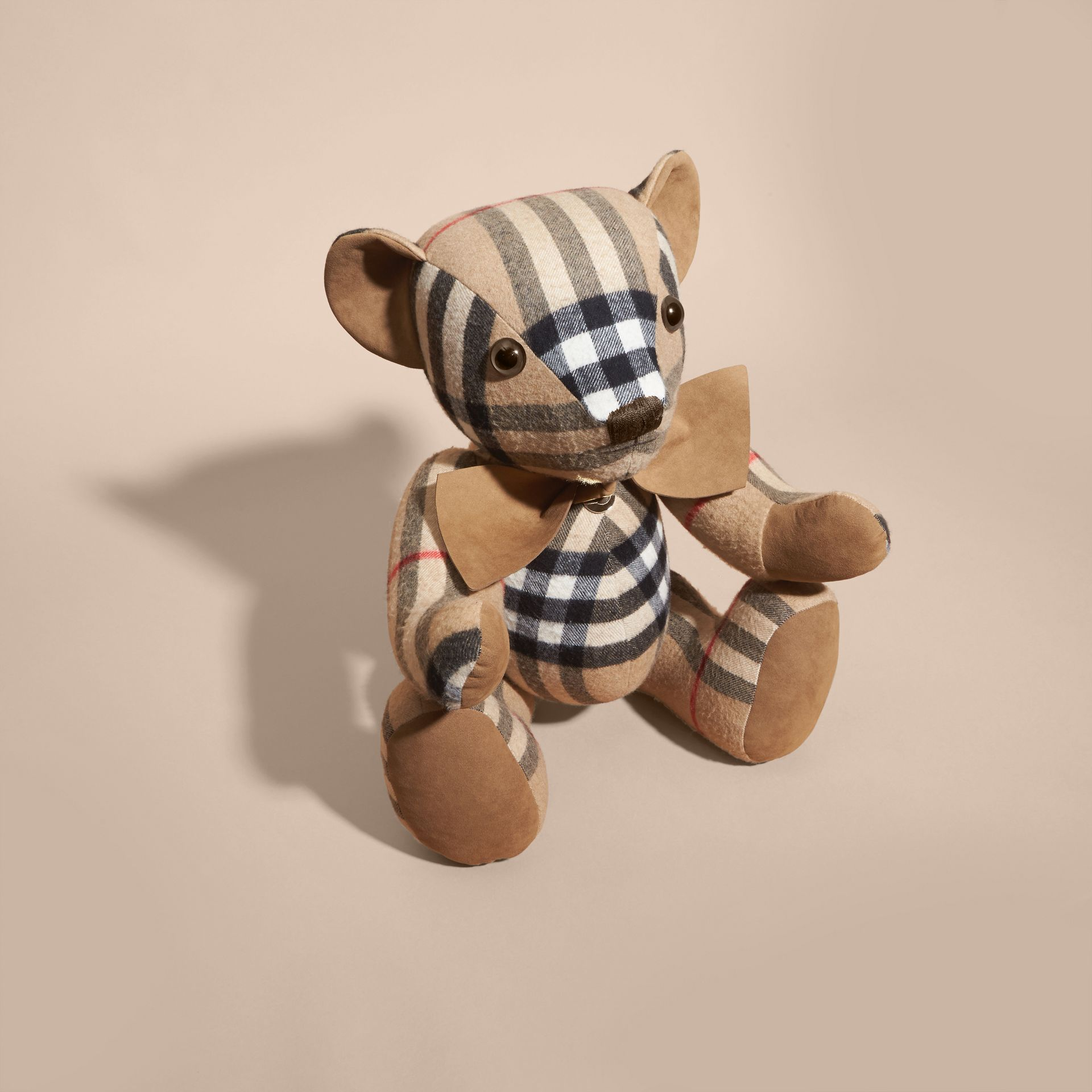 Large Thomas Bear in Check Cashmere in Camel | Burberry United Kingdom - gallery image 3