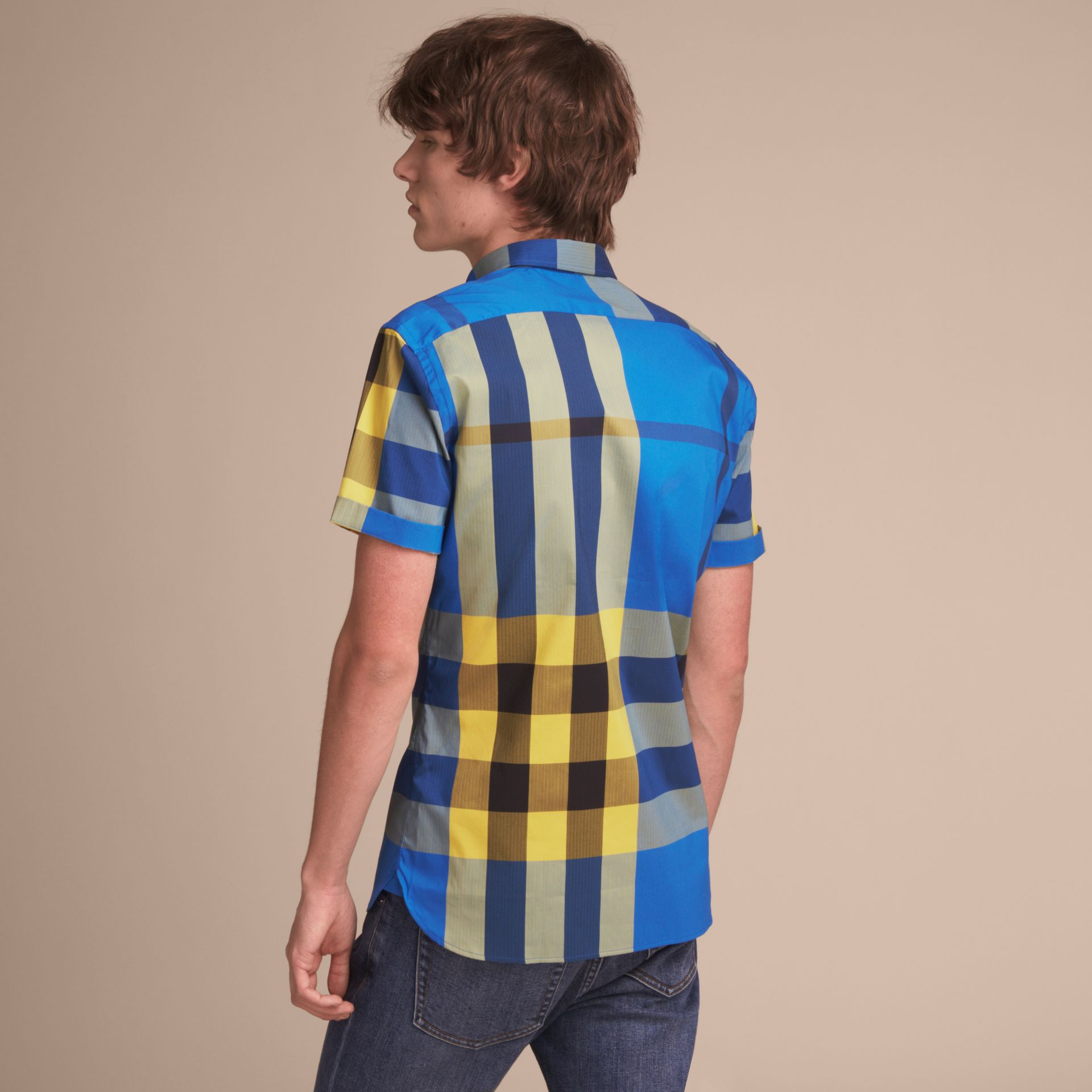 Short-sleeve Check Stretch Cotton Blend Shirt in Bright Canvas Blue - Men | Burberry - gallery image 3