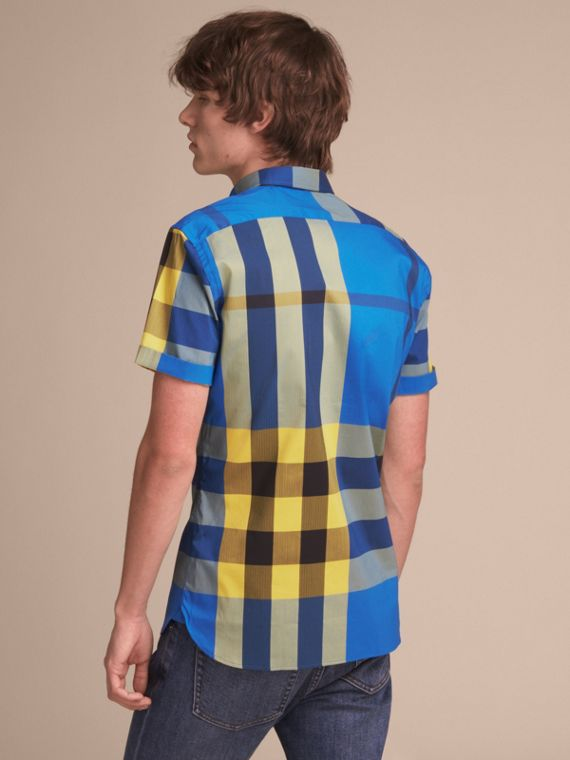 Short-sleeve Check Stretch Cotton Blend Shirt in Bright Canvas Blue - Men | Burberry - cell image 2