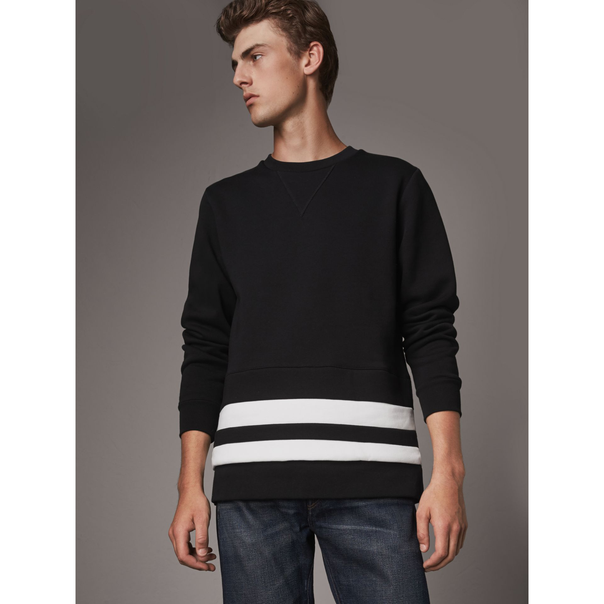 Striped Hem Cotton Blend Sweatshirt in Black - Men | Burberry Singapore - gallery image 1