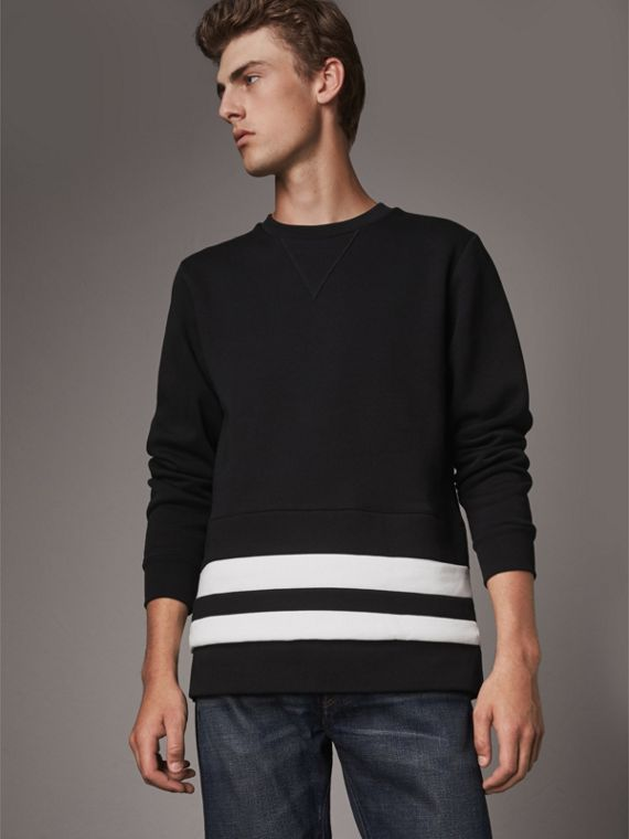 Striped Hem Cotton Blend Sweatshirt in Black