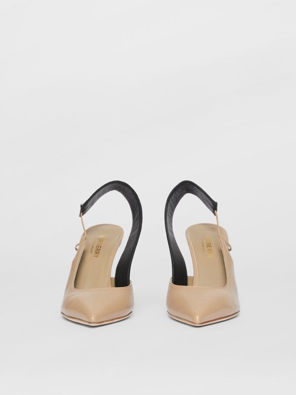 Logo Detail Lambskin Slingback Pumps in Dark Honey - Women | Burberry - cell image 3