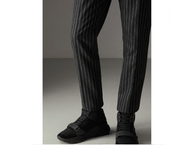 Pinstriped Wool Blend Twill Trousers in Dark Grey | Burberry United States - cell image 1