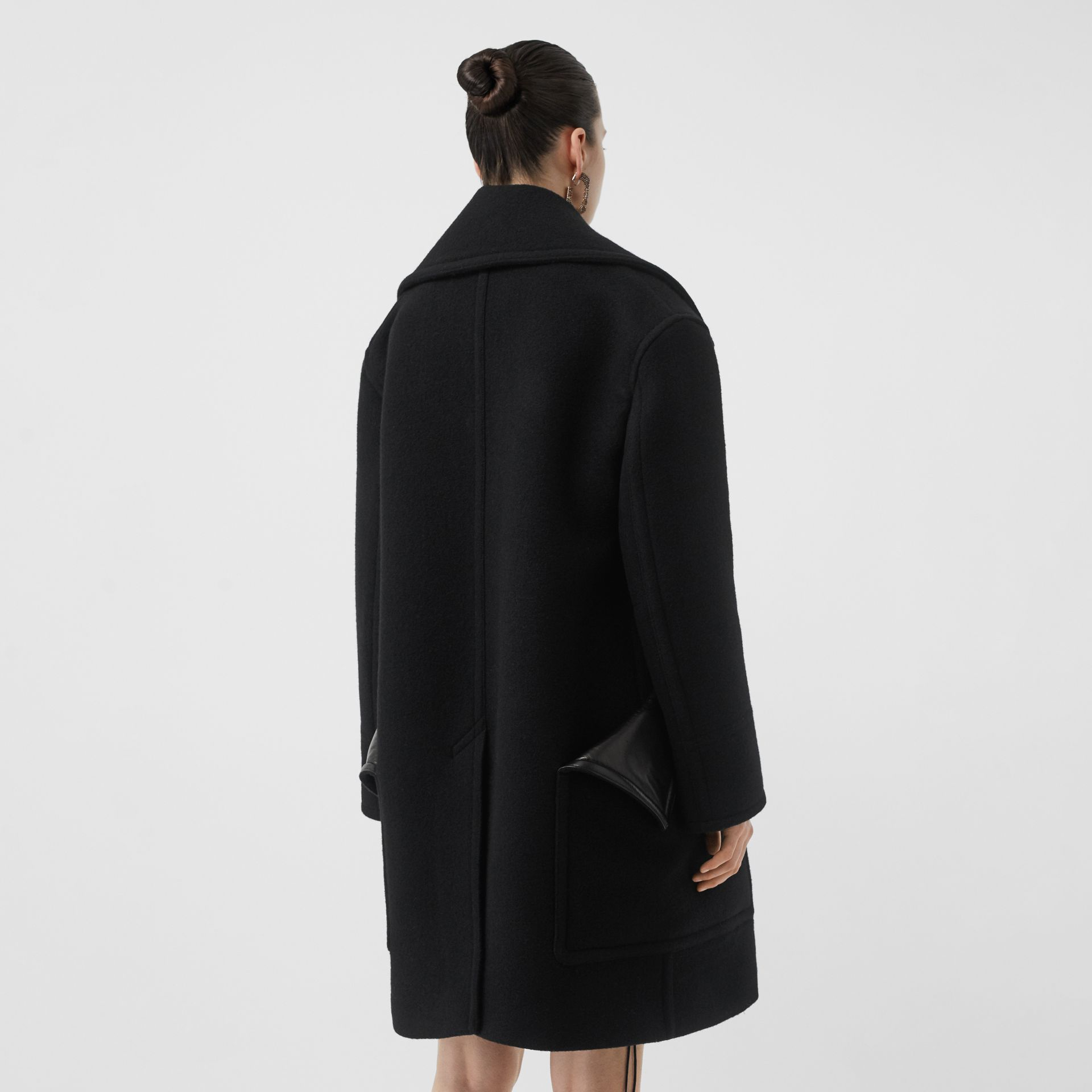 Wool Oversized Pea Coat in Black - Women | Burberry - gallery image 2