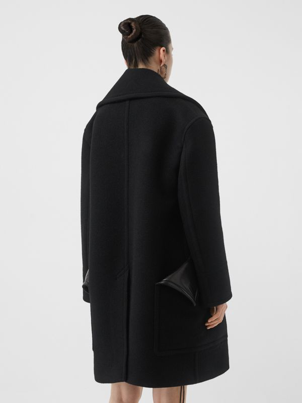 Wool Oversized Pea Coat in Black - Women | Burberry - cell image 2