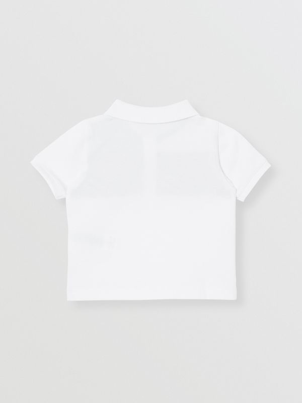 Vintage Check Panel Cotton Polo Shirt in White - Children | Burberry - cell image 3