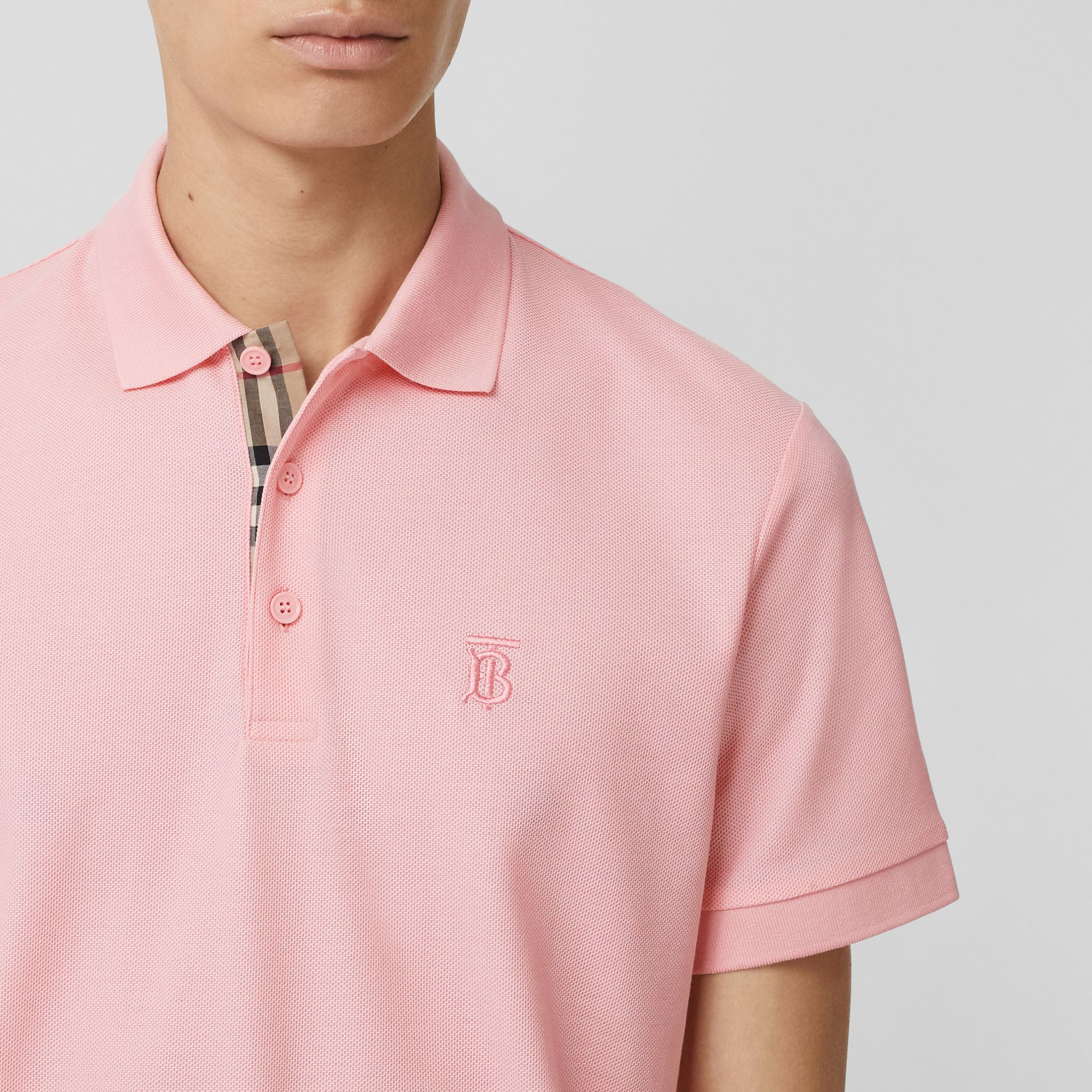 Monogram Motif Cotton Piqué Polo Shirt in Candy Pink - Men | Burberry Australia - gallery image 1