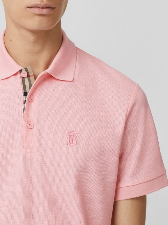 Monogram Motif Cotton Piqué Polo Shirt in Candy Pink - Men | Burberry - cell image 1