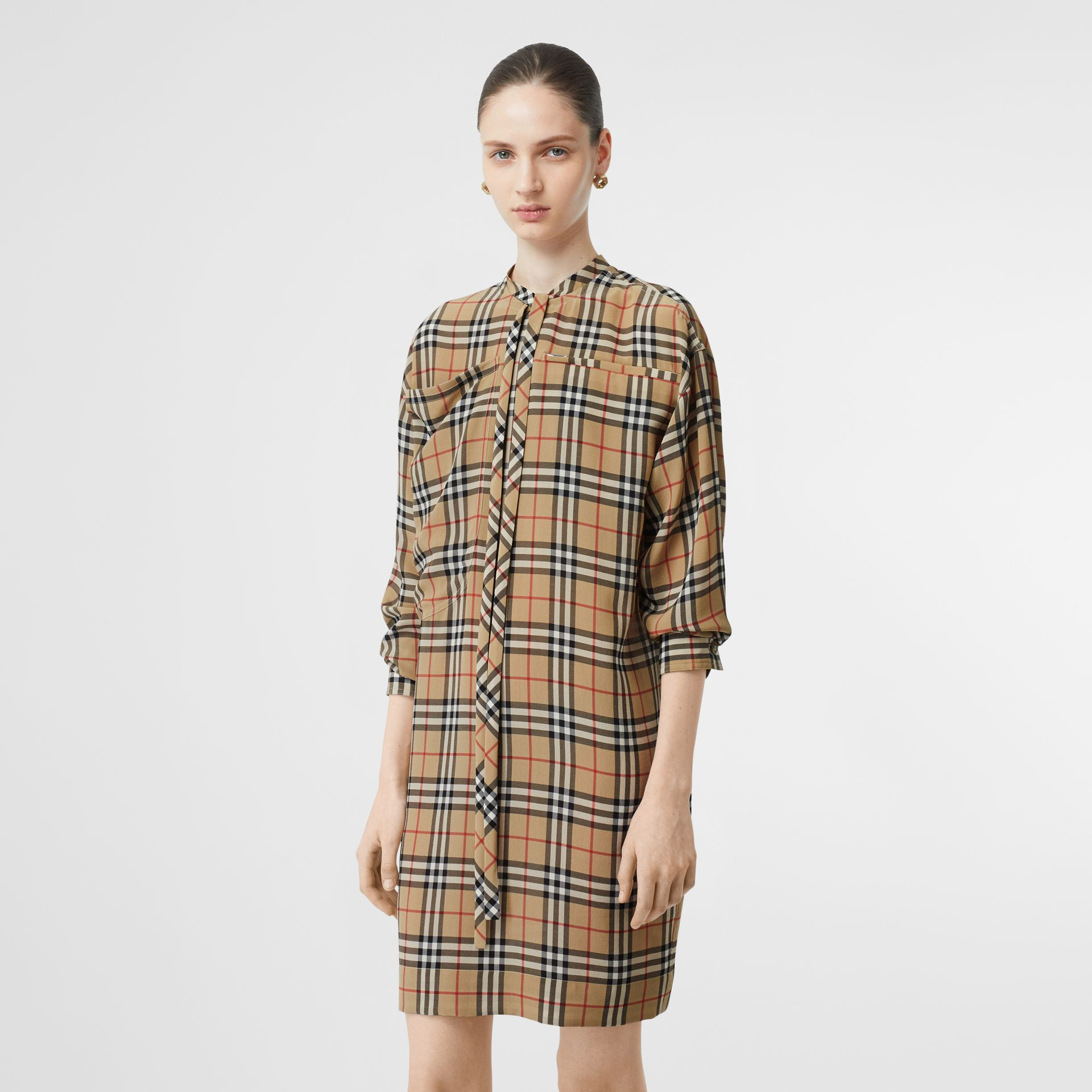 Vintage Check Silk Tie-neck Dress in Archive Beige - Women | Burberry - gallery image 4