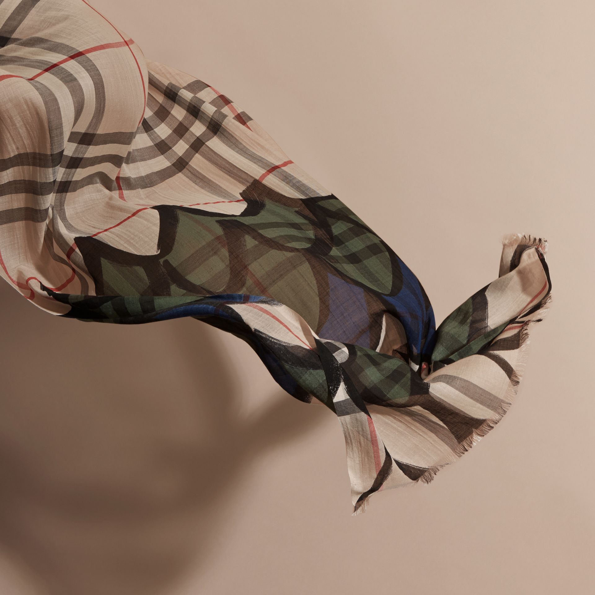 Check Wool Silk Scarf with Trompe L'oeil Print in Sage Green - Women | Burberry - gallery image 4