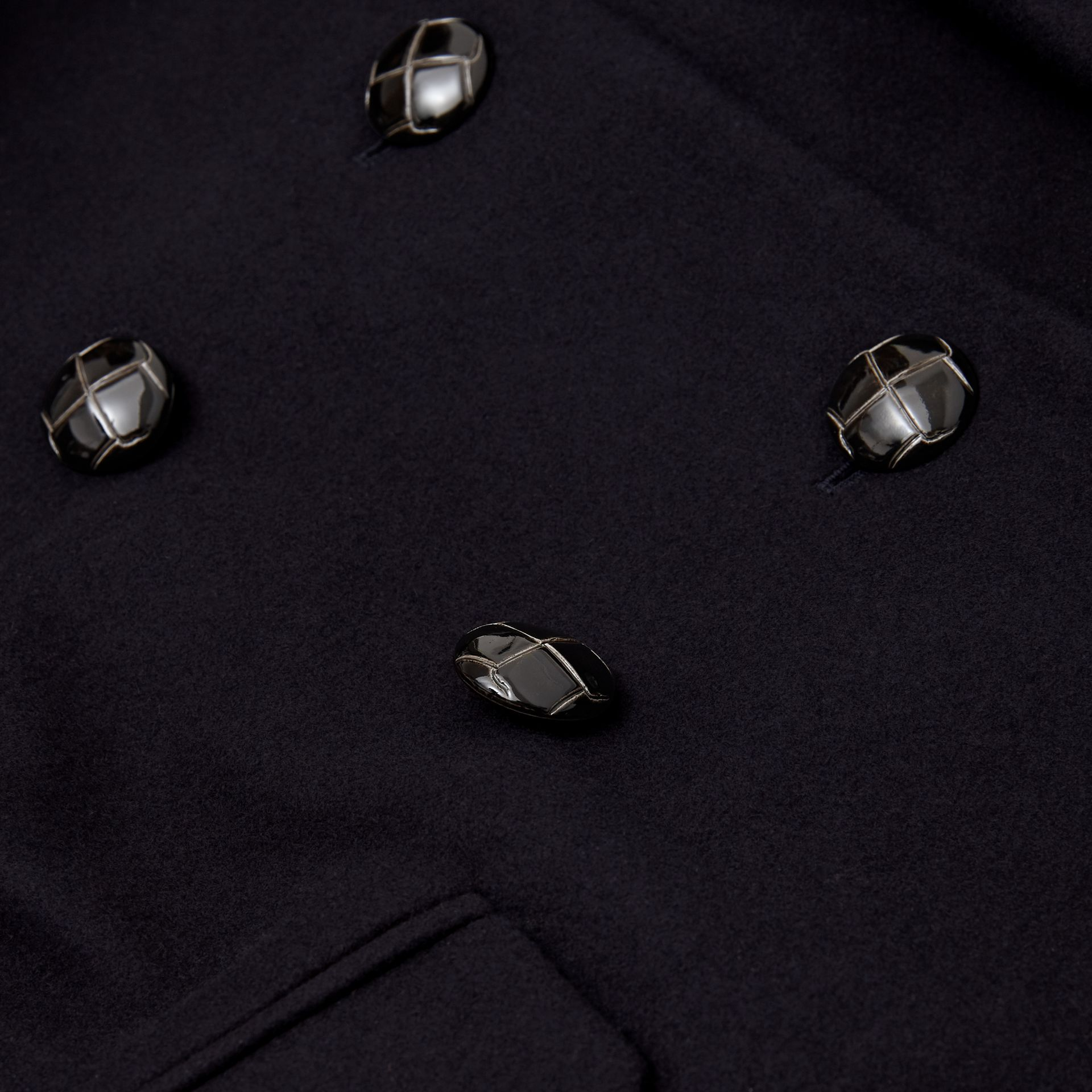 Wool Tailored Pea Coat in Navy | Burberry Singapore - gallery image 1