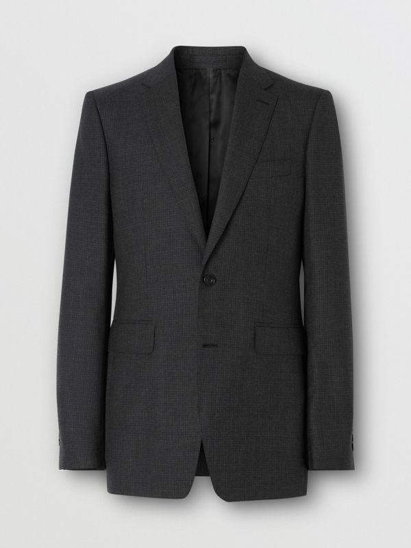 Classic Fit Windowpane Check Wool Three-piece Suit in Charcoal - Men | Burberry - cell image 3