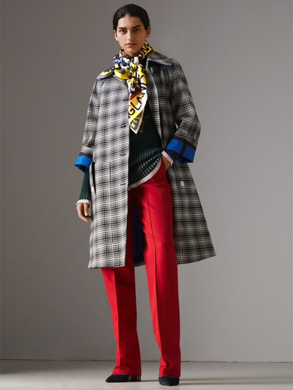 Graffiti Archive Scarf Print Silk Square Scarf in Bright Yellow | Burberry - cell image 2