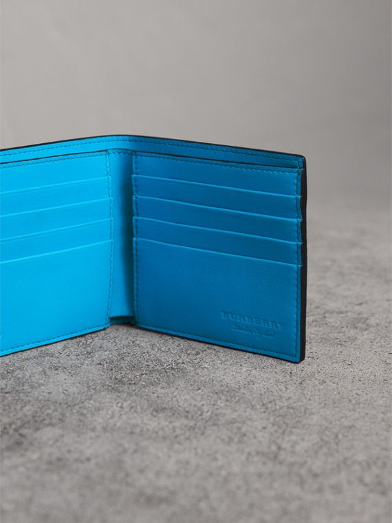 Embossed Leather International Bifold Wallet in Neon Blue - Men | Burberry United Kingdom - cell image 3