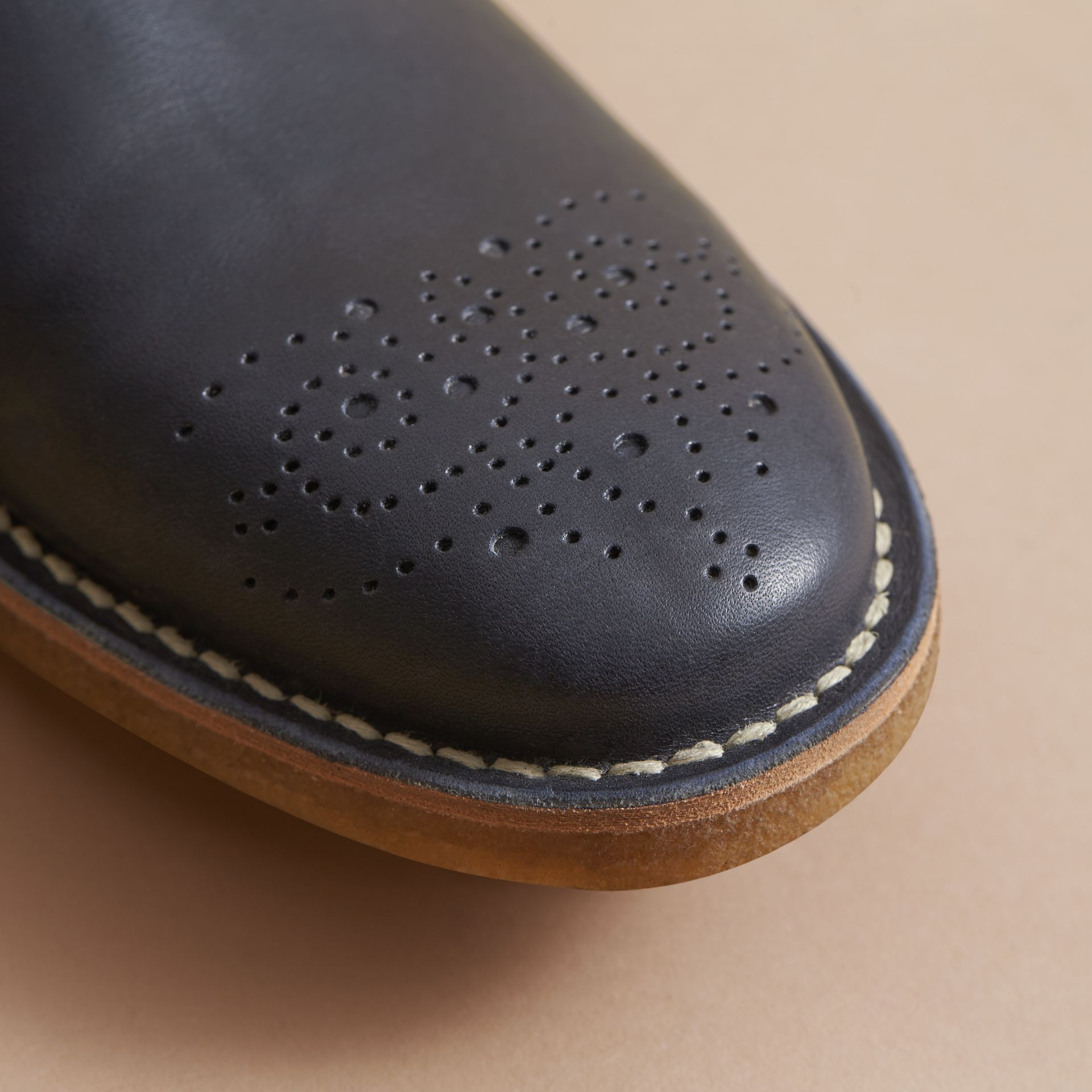 Leather Chelsea Boot in Navy - Men | Burberry - gallery image 2