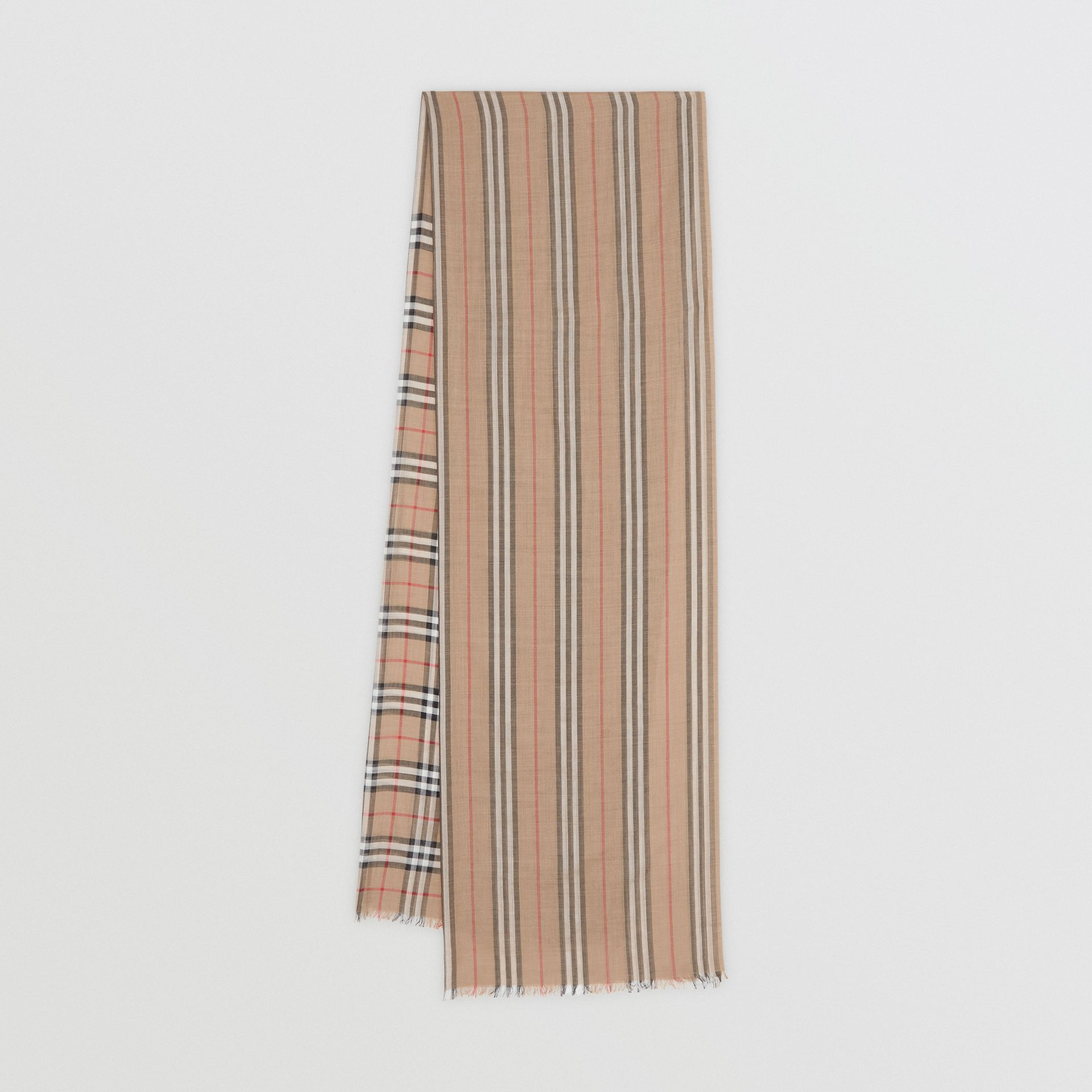 Icon Stripe and Vintage Check Wool Silk Scarf in Archive Beige | Burberry - gallery image 0