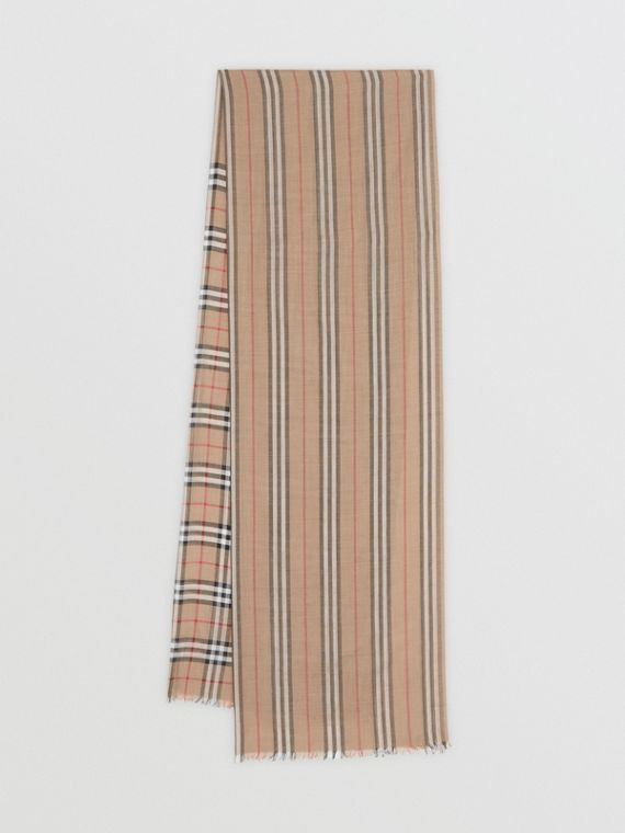 75a0323a1 Icon Stripe and Vintage Check Wool Silk Scarf in Archive Beige