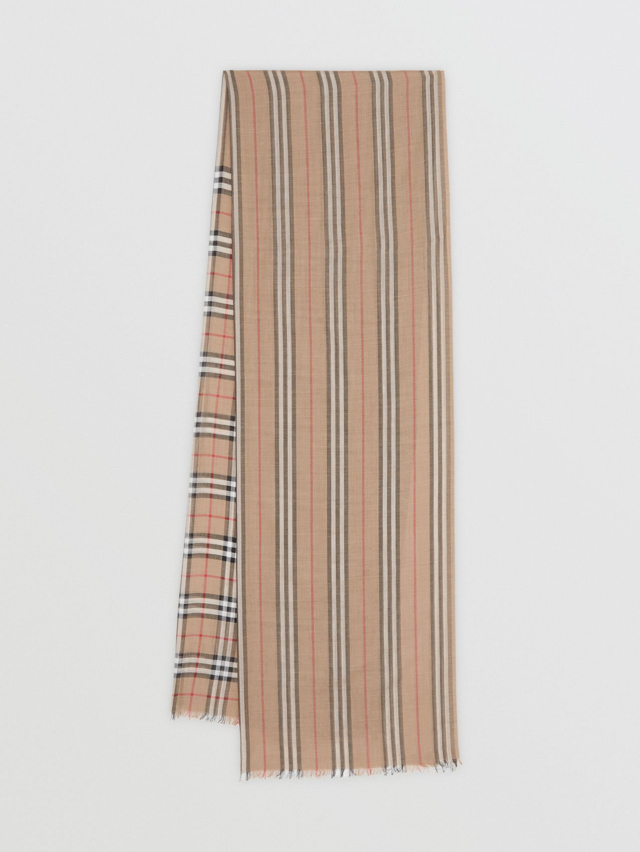 Icon Stripe and Vintage Check Wool Silk Scarf in Archive Beige