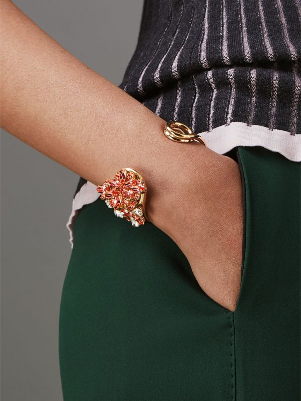 Crystal Daisy Brass Cuff in Coral Pink - Women | Burberry - cell image 2