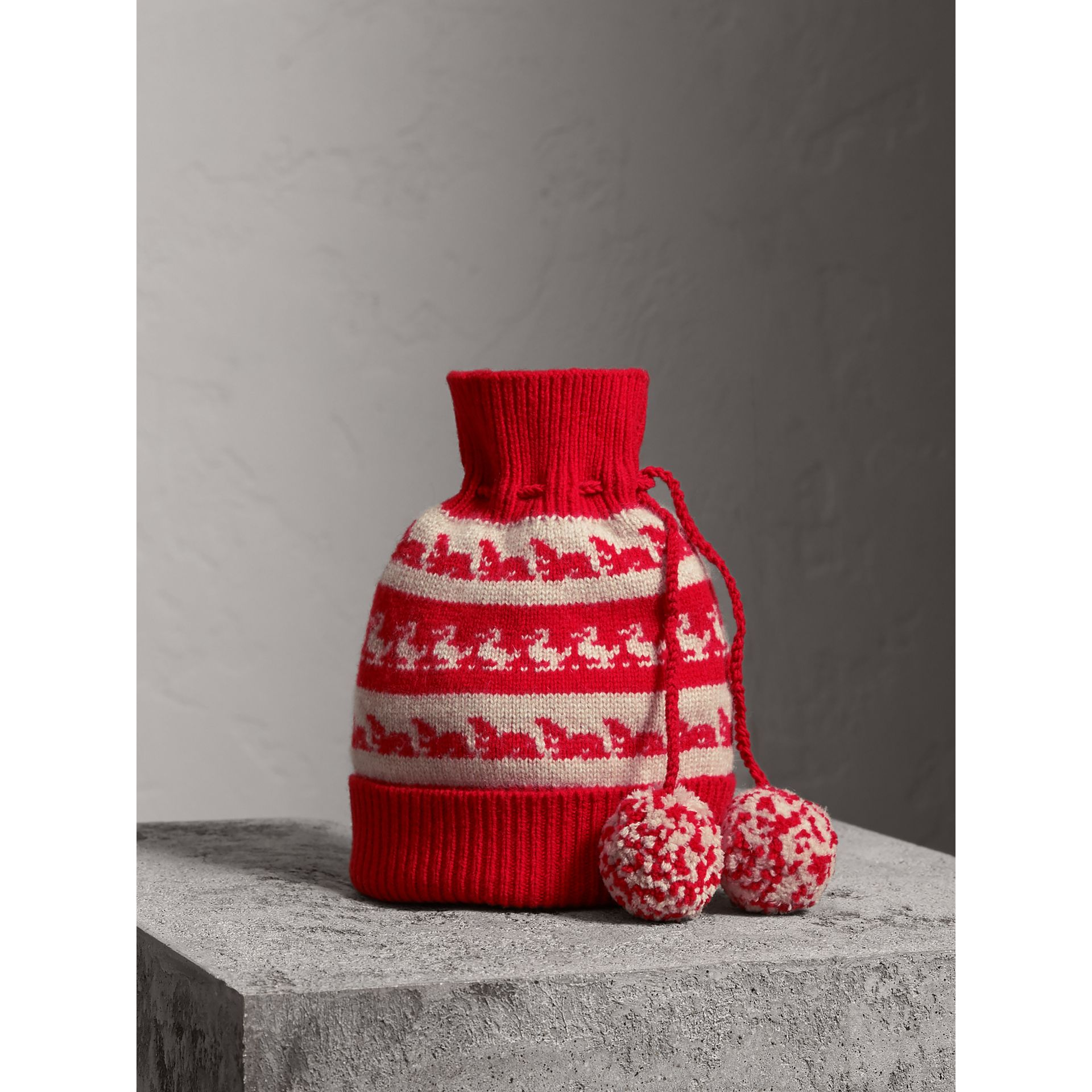 Drawstring Pom-pom Wool Cashmere Beanie in Military Red | Burberry United Kingdom - gallery image 0