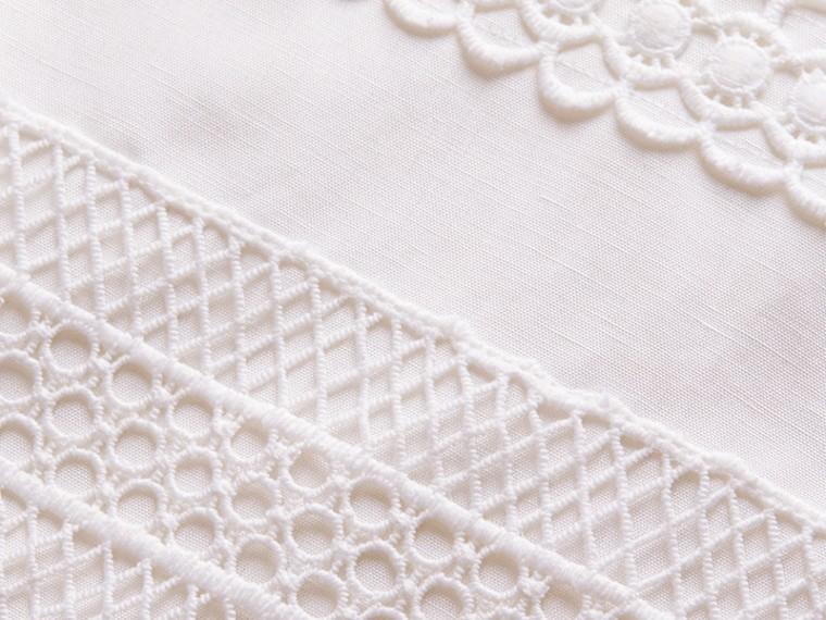 Macramé Lace Detail Silk Linen Cotton Dress - cell image 1
