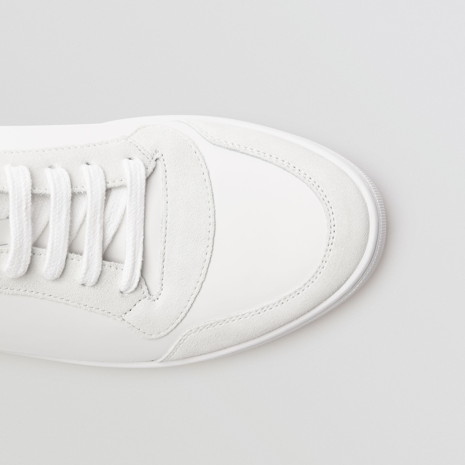 Leather and House Check High-top Sneakers in Optic White - Men | Burberry - gallery image 1