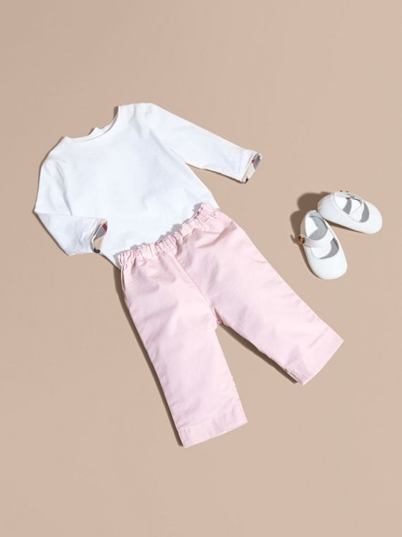 Check Turn-Up Cotton Trousers in Ice Pink