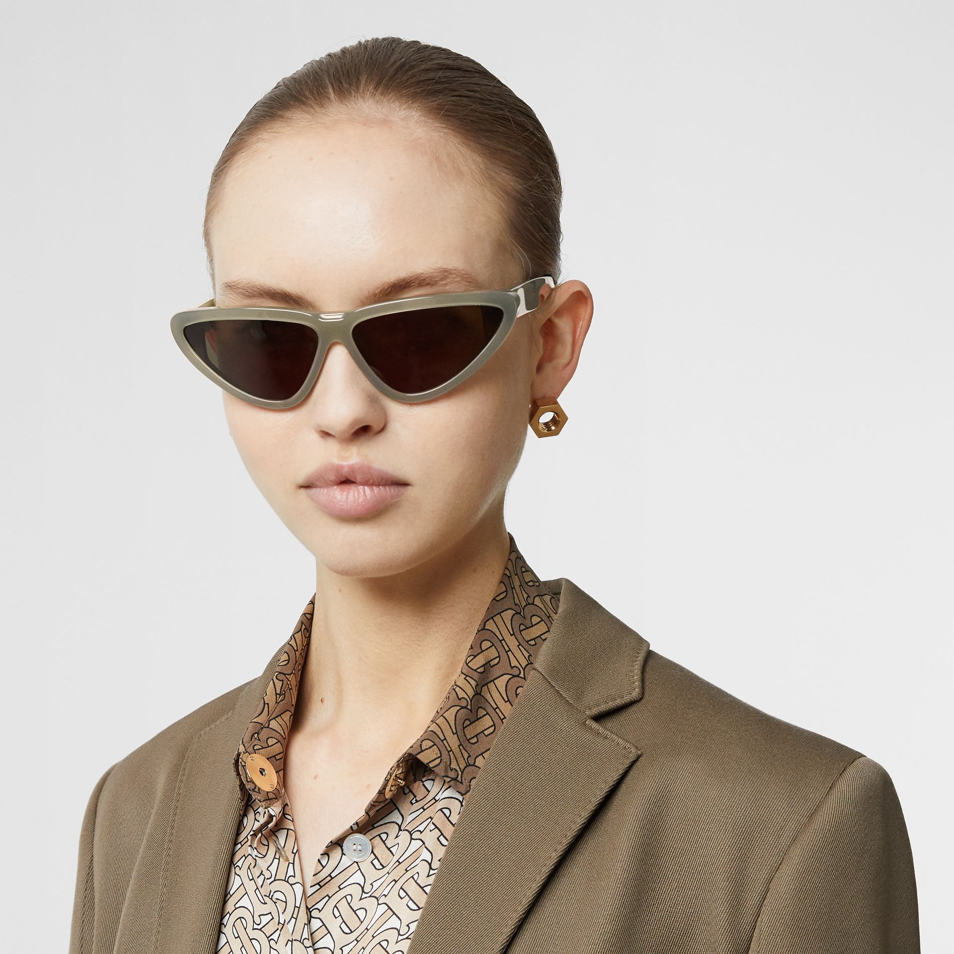 Triangular Frame Sunglasses in Opal Green - Women | Burberry - gallery image 2