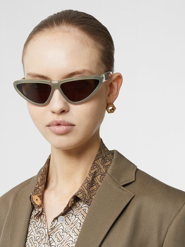 Triangular Frame Sunglasses in Opal Green - Women | Burberry - cell image 2