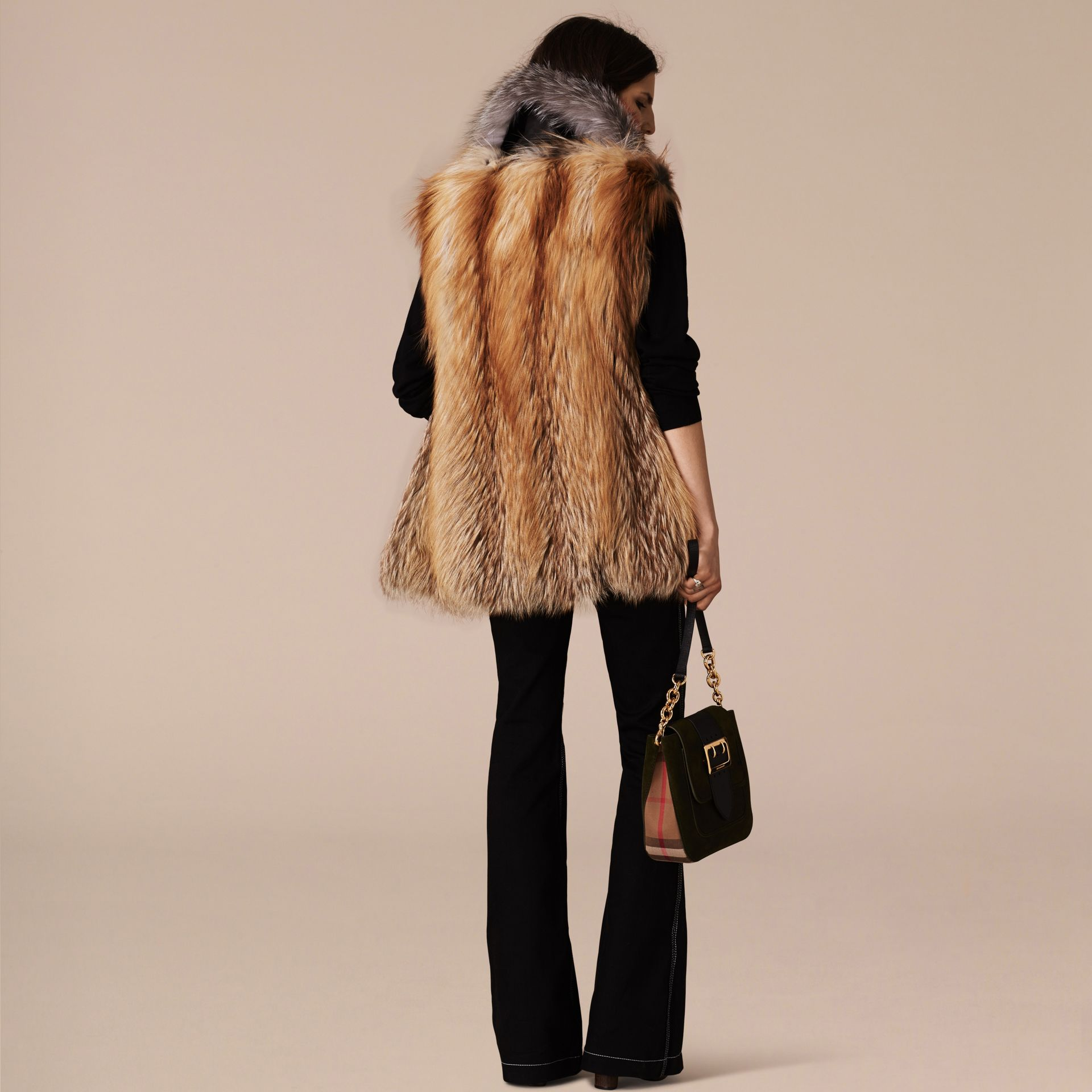 Bright toffee Fox Fur Gilet - gallery image 3